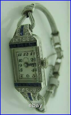 Tiffany & Co E. Huguenin Art Deco Platinum Diamond Sapphire Ladies Watch 1212200