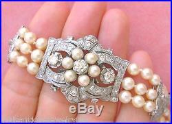 VINTAGE ART DECO 4.75ctw DIAMOND TRIPLE STRAND PEARL COCKTAIL BRACELET 1950
