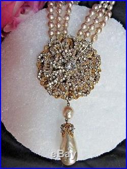 VINTAGE Art Deco MIRIAM HASKELL Baroque PEARL Rhinestone long NECKLACE bracelet