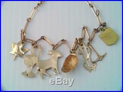 VINTAGE Art Deco SOLID 10K GOLD CHARM BRACELET 7 UNIQUE CHARMS