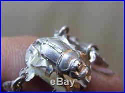 VTG Art Deco Egyptian Revival Sterling Silver Scarab & Papyrus Link Bracelet 23g