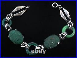 VTG Art Deco Sterling Carved Emerald Glass Donut Link BRACELET