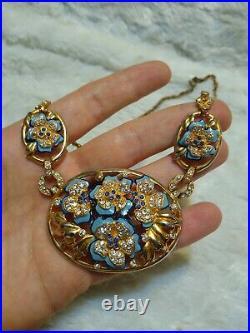 VTG Art Deco Trifari Coro Blue Enamel Rhinestone Flower Necklace Bracelet