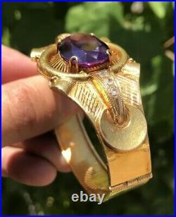 Victorian Antique Art Deco 14k Yellow Gold 17.24ct Alexandrite & Paste Bracelet