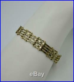 Victorian Gate Link Heart Bracelet 9K Gold Art Deco