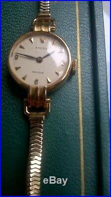 Vintage18ct Gold Rolex Ladies Precision Cocktail Watch & 9ct strap. No. 45496,358x