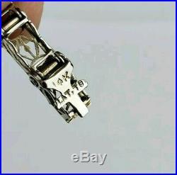Vintage 14K WG & Platinum Art Deco Filigree Diamond & Sapphire Tennis Bracelet
