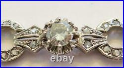 Vintage 18k White Gold OEC & Rose Cut Diamond Art Deco Bracelet 2.53 tcw