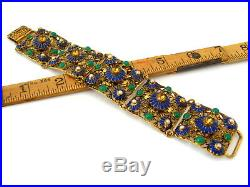 Vintage 1920s Art Deco Czech Style Blue Enamel Flower Rhinestone Glass Bracelet