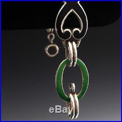 Vintage 1920s Art Deco Sterling Silver Jade Green Black Enamel Filigree Bracelet