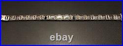 Vintage 1930s Art Deco 14k White Gold & Diamond Filigree Bracelet Sapphires. 40
