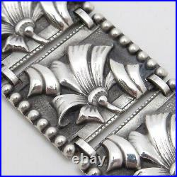 Vintage 1930s Art Deco Flower Sterling Silver Repousse Bracelet