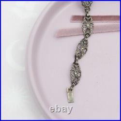 Vintage 1930s Art Deco Sterling Silver Natural Chrysoprase Marcasite Bracelet