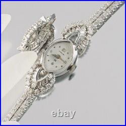 Vintage 1950s Art Deco Covered Hamilton Watch 7.65 ctw Diamond Bracelet Marquise