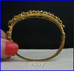Vintage ART DECO 14k Solid Gold Diamond Lilipad Enamel Bracelet 26g
