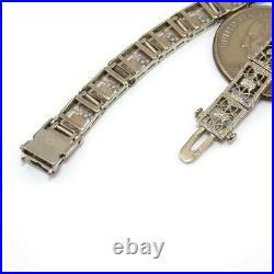 Vintage Antique 10K White Gold Filigree Art Deco Sapphrie Diamond Bracelet
