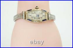 Vintage Antique 1920s Art Deco Warwick Bruner 18k White Gold Sapphire 15 J Watch