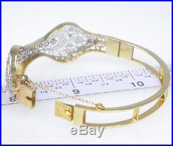 Vintage Antique Art Deco 14k Gold Filigree 1 Ct Diamond Bow Bangle Bracelet