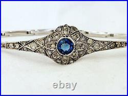 Vintage Antique Art Deco Edwardian French Filigree Crystal Paste Open Bracelet