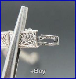 Vintage Antique Sterling Silver Filigree Diamond Art Deco Bracelet 6.75