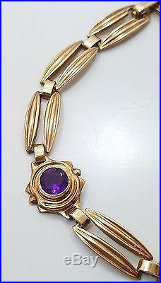 Vintage Art Deco 10k Rose Gold Amethyst Ladies Bracelet