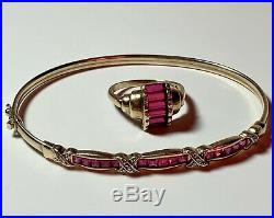 Vintage Art Deco 10kt YG Ruby Ring & 10kt Yellow Gold Ruby Bracelet