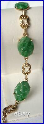 Vintage Art Deco 14K Gold Carved Pierced Jadeite Jade Bracelet Great Color 11.3g
