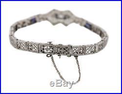 Vintage Art Deco 14K White Gold 0.41ctw Blue Sapphire Diamond Filigree Bracelet