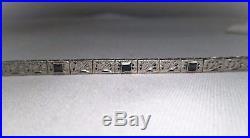 Vintage Art Deco 14K White Gold Filigree Sapphire Bracelet EM1181