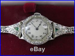 Vintage Art Deco 14k Solid Gold Platinum Diamond And Emerald Ladies Watch 1920s