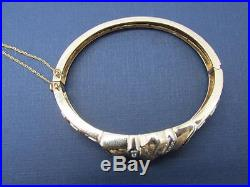 Vintage Art Deco 14k Solid Yellow Gold And Diamond Hinged Bangle Bracelet Rare