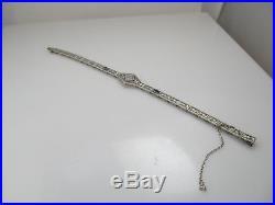 Vintage Art Deco 14k White Gold Filigree Bracelet Antique