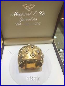 Vintage Art Deco 18K Solid Yellow Gold Diamond Cuff Bracelet