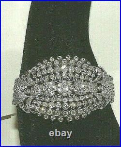 Vintage Art Deco 18ct W Gold Wide 18.00 Carat Diamond Bracelet Stunner
