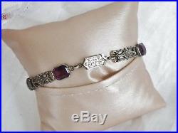 Vintage Art Deco 1920s Amethyst Paste Stone Flower Sterling Silver Bracelet 7.5