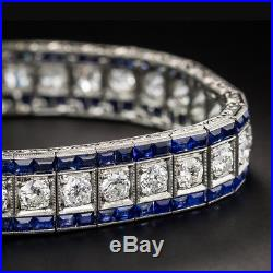 Vintage Art Deco 5MM Moissanite & Simulated Diamond 925 Silver Bracelet 7 Inch