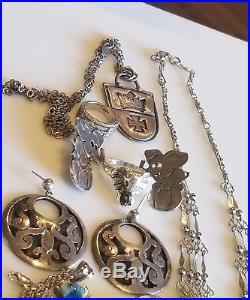 Vintage Art Deco 925 sterling Silver topaz bracelet earring necklace Jewelry Lot