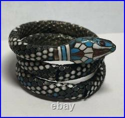 Vintage Art Deco 935 Sterling Silver Enamel Snake Bracelet AS IS