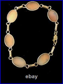Vintage Art Deco Antique 14k Gold Bust Shell Cameo Bracelet Hand made 7.1 grams