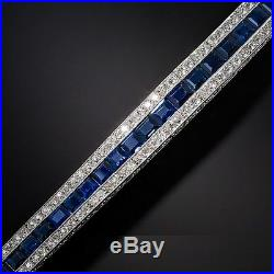 Vintage Art Deco Blue Sapphire & Simulated Diamonds Bracelet 925 Sterling Silver
