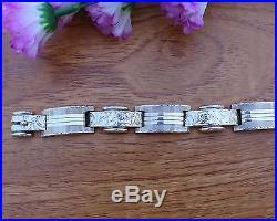 Vintage Art Deco Bohemian Solid Silver Bracelet 1930s Czechoslovakia Antique