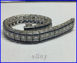 Vintage Art Deco Brilliant Cut Moissanite & Blue Sapphire 925 Silver Bracelet