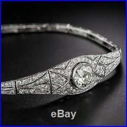 Vintage Art Deco Brilliant Cut Moissanite &Simulated Diamond 925 Silver Bracelet
