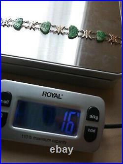 Vintage Art Deco Carved Natural Jadeite Jade 6 Stone Bracelet 1940 14k/10k