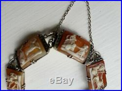 Vintage Art Deco Carved Shell Cameo & Marcasite 7 Day 800 Silver Bracelet. 99p
