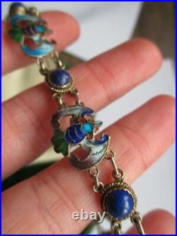 Vintage Art Deco Chinese Export Silver & Enamel Bat Bracelet. Lapiz Lazuli