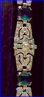 Vintage Art Deco Designer KTF 7-1/2 Clear Rhinestone & Emerald Green bracelet