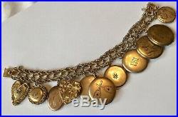 Vintage Art Deco Gold Filled Heart & Locket Charm Bracelet