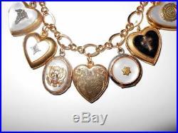 Vintage Art Deco Loaded Gold Filled Ww2 Sweetheart Locket Fob Charm Bracelet