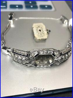 Vintage Art Deco Platinum, Sapphire, Diamond, Wristwatch